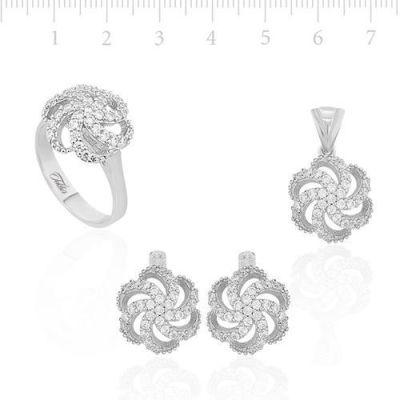 Gümüş Zirkon Taşlı Çiçek Kolye Küpe Yüzük Üçlü Set