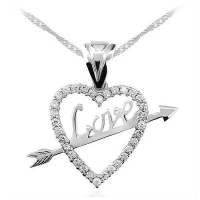 Kalp İçinde Ok Love Yazılı Taşlı Bayan Gümüş Kolye