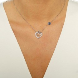 Kalp ve Kalbe Bağlı Tek Taş Taşlı Bayan Gümüş Kolye - Thumbnail