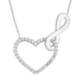 Sonsuz Aşk Kalbe Bağlı Sonsuzluk Taşlı Bayan Gümüş Kolye - Thumbnail