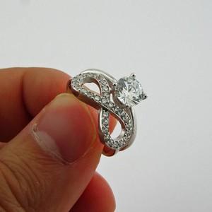 Taşlı Sonsuzluk ve Tek Taş Yüzüğü Gümüş Yüzük - Sevgiliye Hediye - Thumbnail
